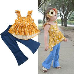 USA Toddler Baby Girl Floral Top T-shirt Wide Leg Flared Jea