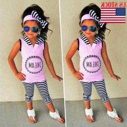 USA Toddler Kids Baby Girl Summer Tops Tank Top+ Leggings 3P