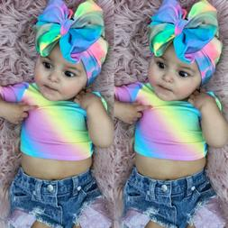 USA Toddler Kids Baby Girl Summer Tops T-shirt Denim Shorts
