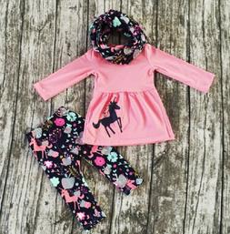 USA Toddler Kids Baby Girl Unicorn Long Sleeve Tops Dress Pa