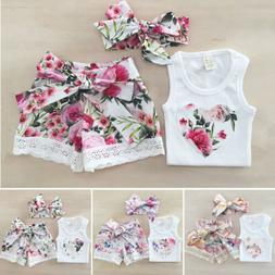 USStock Toddler Baby Girl Summer Clothes Floral Top+Shorts P