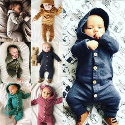 US Xmas Autumn Infant Baby Boy Girl Cotton Hooded Romper Jum