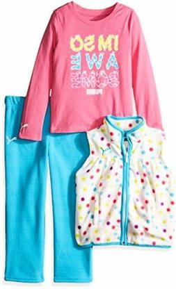 PUMA Baby Girls' 3pc Vest, Tee and Pant Set, Kick Blue, 18M
