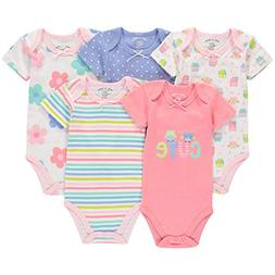 Wan-A-Beez 5 Pack Baby Girls' and Boys' Short Sleeve Bodysui