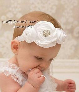 White Satin Flower Headband - Baby Girl Hair Bow Hairbow Bap