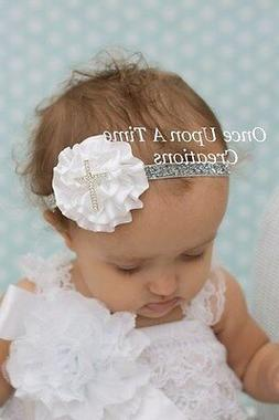 White Silver Satin Flower Newborn Headband Baby Girl Hairbow