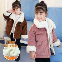 Winter Baby Kids Jackets Girls Corduroy Fur Coats Thicken Fl