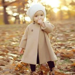 Winter Kids Baby Girl Cloak Solid Button Long Jacket Warm Th