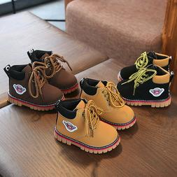 Winter Warm Army Martin Boots Toddler Baby Kids Boy Girl Lea