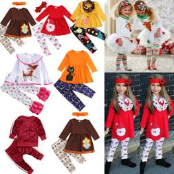 Xmas Christmas Toddler Kids Child Girls Baby Clothes Dress T